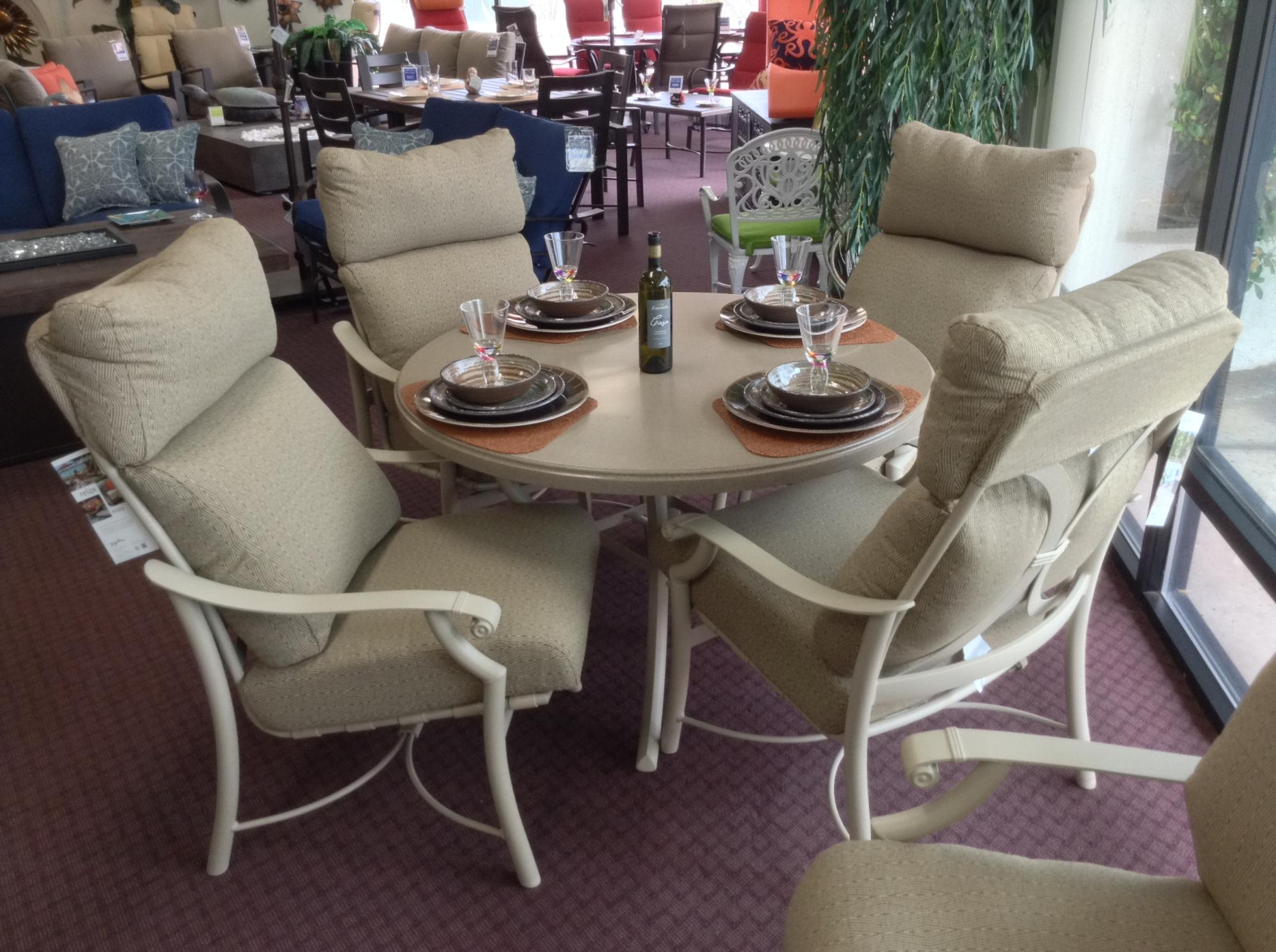 Montreux Cushion Dining Set Shown With 48 Round Faux Granite Table H275