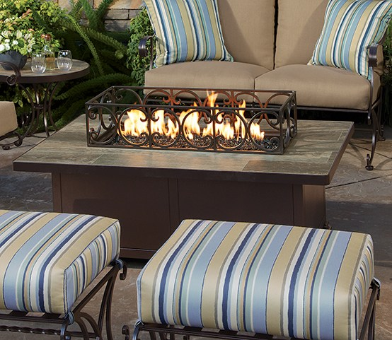 Exceptional Santorini Rectangular Fire Table U0026 Optional Metal Guard